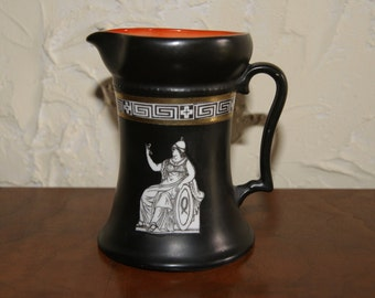 Vintage ROYAL BAYREUTH Creamer Greco Roman Style 1902 Black With Orange And White Interior