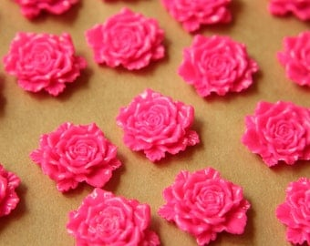 CLOSEOUT - 10 pc. Neon Pink Detailed Rose Cabochons 24mm | RES-549
