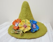 Snufkin hat green felted with felt wool flowers feather rose brooch sauna cap tribal Valentine Christmas carnival festival troll mummy