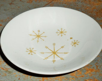 Vintage Bowl, Atomic, Star Glow, Snow Flake, White & Gold, Berry Bowl, Fruit Bowl, Transfer Ware, Royal China, Dessert Bowl