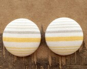 Fabric Covered Button Earrings / Wholesale Jewelry / Yellow and Gray / Small Gifts for Her / Stud Earrings / Bulk / Made in USA / Striped