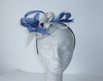 Blue and Silver fascinator  headpiece for day at the races or wedding