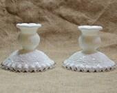 Fenton Silver Crest Spanish Lace Milk Glass Candleholders Set of 2