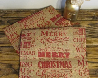 Christmas Table Runner, 110in Burlap Runner, Primitive Christmas Decor, Merry Christmas Burlap, Primitive Table Runner, Christmas Decor