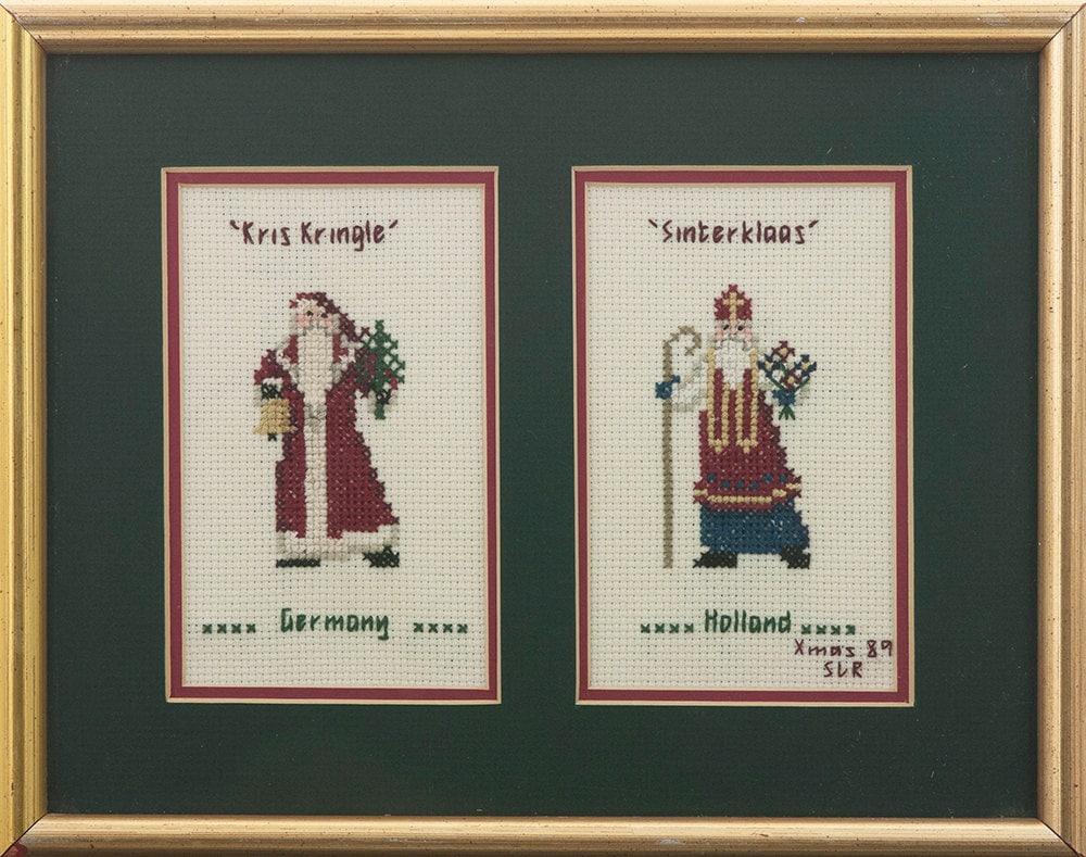 Wall Decor Cross Stitch : Kris kringle cross stitch wall art christmas decor germany and