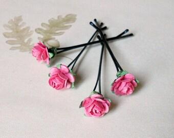Dark pink rose hair pins. Wedding hair pin. Bridesmaid hair pin. Paper flowers. Hair accessories. Bridal accessories. Bun hair pins. MF#03