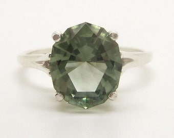 3.55 Carat Prasiolite (Green Amethyst) Gemstone Ring Size 8 Sterling Silver Hand Cut Gem