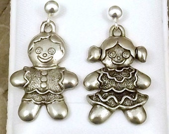 Pewter Gingerbread Boy and Girl Charms on Sterling Silver Ball Post Stud Earrings - Free Shipping in the US -5266/67