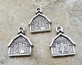 Set of 3 Pewter BARN Charms  - 0792