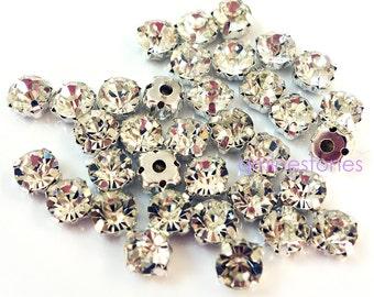 4mm Sew On Crystal Rhinestone Clear