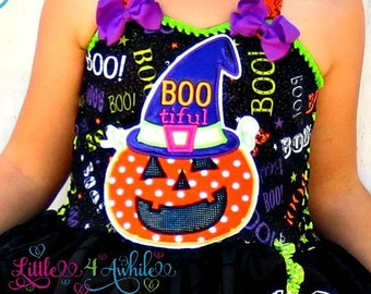 Bootiful Pumpkin Halloween Applique Embroidery Design Instant download 5 sizes