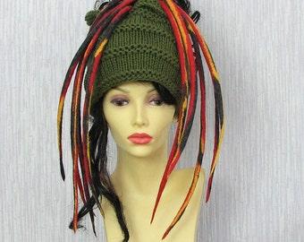 Khaki Dreadlocks Mens headband, dreads wrap dread tube Tam Hat for Dreads Khaki Knitting Headband
