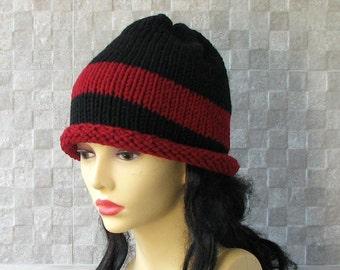 SALE Hat- Hand knitted  slouchy beanie -  Winter Hat - Knit Hat Slouchy Beanie - Slouchy Hat -  Women's Slouchy Hat Mens Beanie Hat