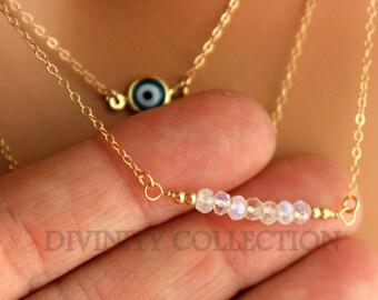 Gold Filled Moonstone Multi Strand Necklace Blue Evil Eye Layering Triple Necklaces Hamsa Kabbalah Jewelry Gift