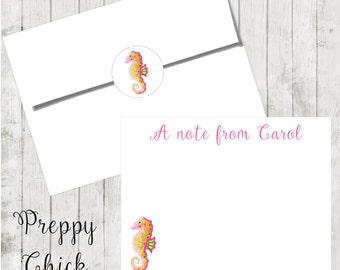 Set of 24-Preppy Notecards, Personalized Flat Note Cards, Preppy Stationery, Tropical, Seahorse, Thank You Cards, Teacher Notes