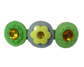 Rhinestone Button Barrette, Sunflower Hair Clip, Flower Hair Clip, Sunflower Clip, Summer Hair Clip, Hair Barrette