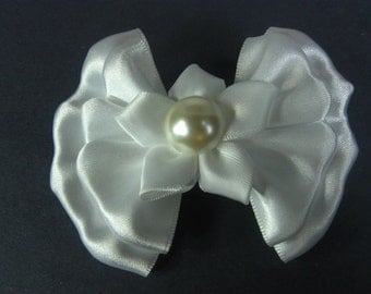 White Satin Hair Bow, White Hair Bow, Satin Hair Bow for Flower Girl, 1st Communion, Baptism, Easter Hair Bow, Wedding Hair Bow