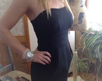 Vintage Little Black Dress, Strapless Silky Empire Waist Dress, Size 10 Black Dress