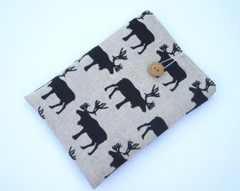 Linen elks Kindle sleeve, iPad mini sleeve, Kindle Paperwhite sleeve, Kindle Fire case, Kobo case, Nexus 7 sleeve, ipad sleeve, Nook case