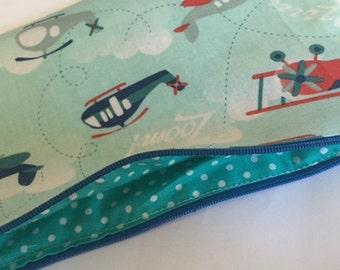 Pencil case in planes fabric