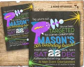 Laser tag invitation - Chalkboard laser tag birthday invitations for laser tag party - Boys birthday party invitation - You print