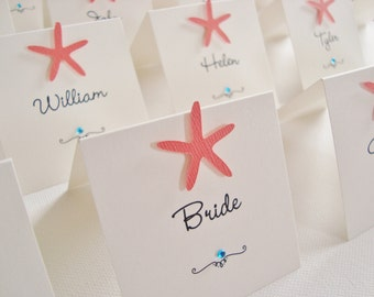 Personalised Handmade Starfish Wedding Place Cards (Pack of 10)