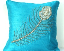 Blue Pillow Cover Peacock Pillow Peacock Feather Embroidered Pillow Turquoise Throw Pillow Beaded Pillow Embellished Pillow 16x16 pillows