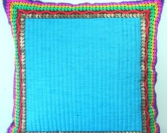 Teal Blue Throw Pillow Colorful Pillow Throw Pillow Cover Blue Pillow Teal Blue Multicolored Decorative Pillow Accent Pillow 16x16