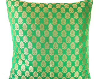 Green Pillow Cover Emerald Green Pillow Dark Green Pillow Gold Shimmer Brocade Pillow Unique Pillow Luxurious