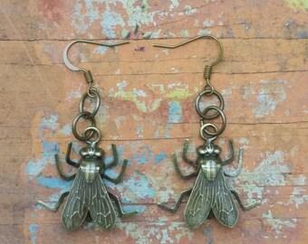 Bronze Dangle Fly Insect Bug Earrings