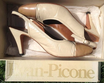 "Vintage shoes | 1980s two-tone kid leather Evan Picone ""Capri"" slingback heels, US 9M"