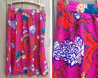Vintage skirt | 1980s Dana J. bright floral soft midi skirt