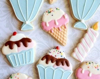 Ice cream cone & Sundae birthday cookies with sprinkles - One Dozen Decorated Sugar Cookies - Perfect for sweet tables or favors