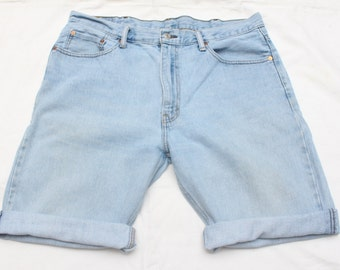 "90's Vintage ""LEVI'S"" Reconstructed Light Blue Cutoff Jean Shorts Sz: 38 (Men's Exclusive)"