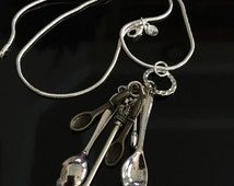 Spoonie Spoon Necklace - Spoon Charms on a silver chain - living with Chronic illness, Crohn's Disease - Awareness Jewelry
