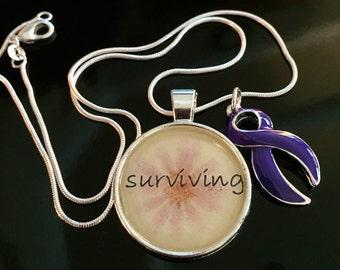 Surviving - Purple Violet Ribbon Necklace - Hodgkins Hodgkin's Lymphoma Disease Survivor / Awareness Jewelry Craniosynstosis