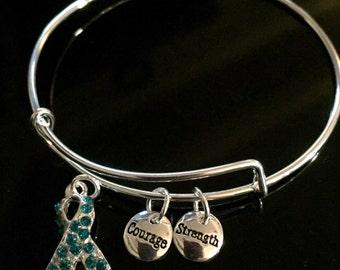 Ovarian Cancer Awareness Bracelet - Silver Adjustable Wire & Charms - Teal Ribbon Survivor  Gift
