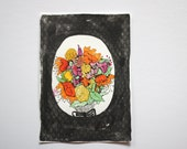 Black Pattern Wildflowers - Original Watercolour + Ink Pen Art Drawing - Size A5 - (unframed)