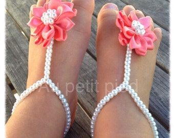 Baby barefoot sandals, baby shower gift, baby shoes, baptism gift, baby girl gift, coral flower baby sandals, baby jewelry, baby shoes