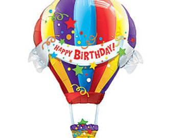 "42"" Happy Birthday Hot Air Foil Balloon, air/helium, self sealing, DIY supplies"
