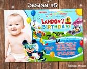 Mickey Mouse Clubhouse Swim Pool Slide Birthday Party Photo Invitations Beach Splash - Printable