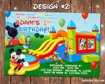 Mickey Mouse Clubhouse Bounce House Slide Birthday Party Photo Invitations Pool Swim - Printable