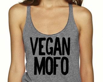 Vegan Mofo Tank Top,Triblend Top, Vegan Shirt, Vegan Tee, Vegan tshirt, Vegan month of food, T-Shirt, Level Apparel