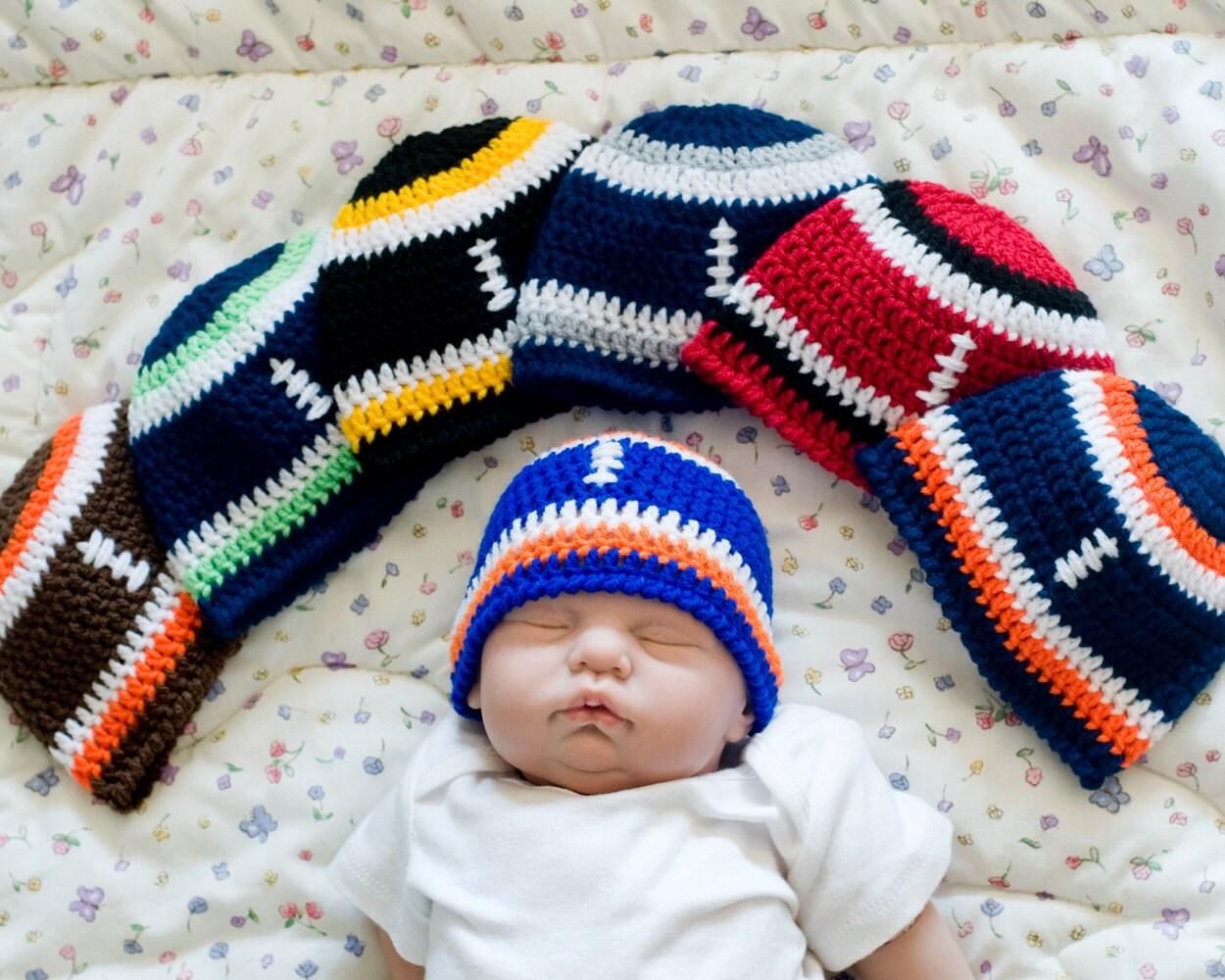 BABY FOOTBALL HAT Boys Crochet Beanie Baby Knit Football
