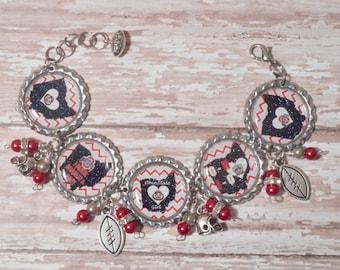 Ohio State Buckeyes Inspired Glitter Bottlecap Bracelet with Beads and Bling
