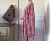 "Womens Crochet ""Rosey Days"" Kimono with Tassels.Free size"