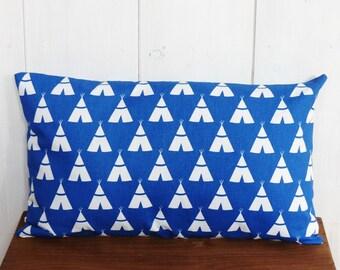 Cushion cover 30 x 50 cm cobalt blue geometric motifs tipi Indian