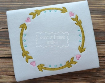 Arrow Circle Frame Machine Embroidery Design