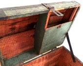 Vintage Green and Black Wood Trunk Chest Handmade from Explosives Packing Crates Painted