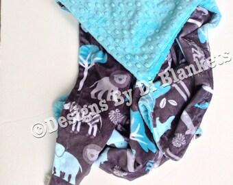 Toddler Minky Blanket, Jungle Animal Blanket,Zoo Blanket, Safari Bedding, Elephant Toddler Bedding,Boy Toddler Blanket, Toddler Size 40 x 50